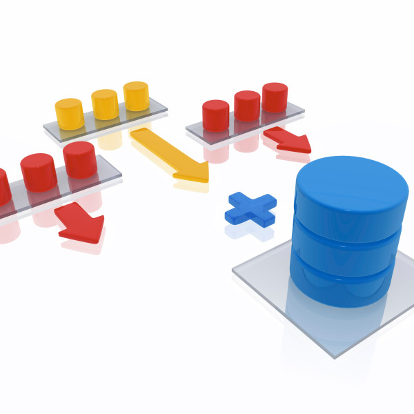 3d render of a data warehouse concept. The data warehouse as a central database, whose information consists of many other data sources. Data warehouses are designed to facilitate reporting and analysis with the stored data.