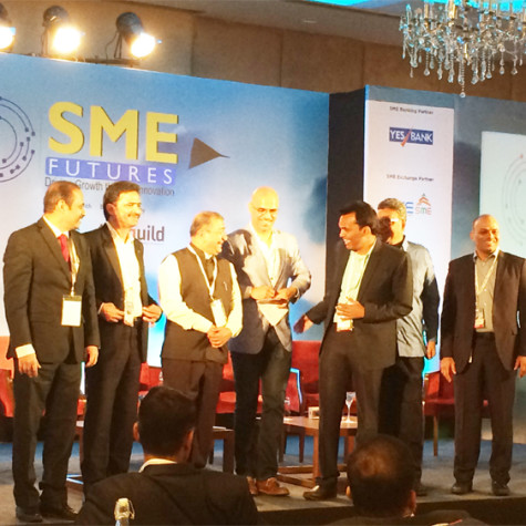 "RamaKrishna LN, MD & CEO of Bodhtree addressing the session ""MAKING THE JOURNEY FROM $1 MN TO $100 MN MARK: MAKE IN INDIA & THE COMPETITIVENESS OF SMES IN A GLOBALIZED ECONOMY"" at SME Event, Hyderabad."